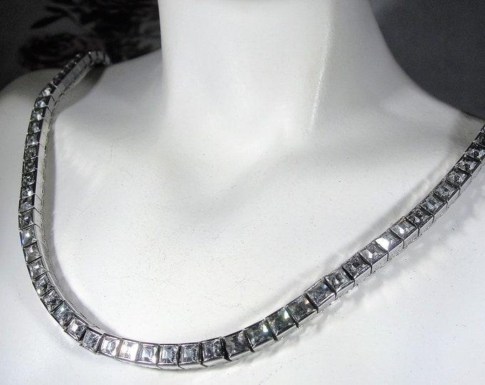 Sterling Silver Necklace, DORSON'S Jubilee Bright Burning Jewels Sterling Silver Necklace, Circa 1947, Clear Rhinestones, Vintage Necklace