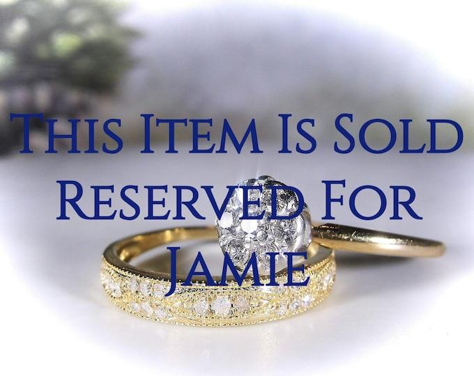 Reserved for Jamie - 9th Final Payment: Bridal Ring Set, 10K Diamond Wedding Rings, Flower Diamond Cluster Engagement Ring, Diamond Wedding