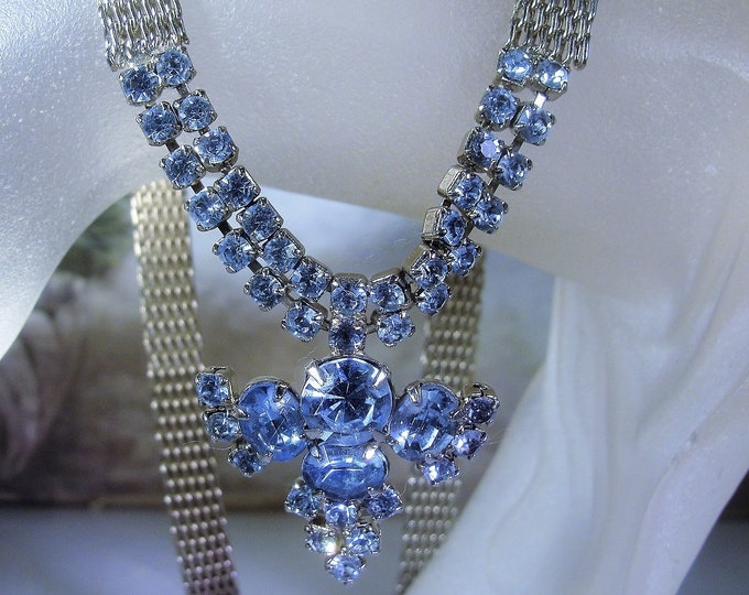 Capri Blue Rhinestone Necklace, Silver Mesh Necklace, Silver Tone Metal, Light Blue Capri Rhinestones, Mesh Necklace, Vintage Necklace
