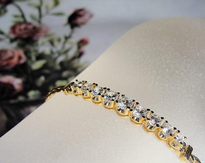 Chain Bracelet, Vintage Gold Vermeil Cubic Zirconia Chain Bracelet
