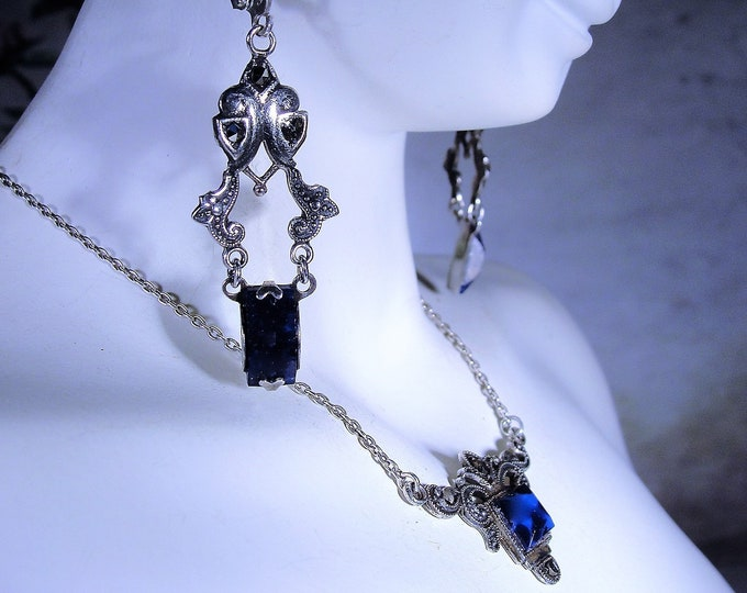 Blue Lapis and Marcasite Necklace and Earrings Jewelry Set, Circa 1930s Jewelry Set, Vintage Jewelry Set