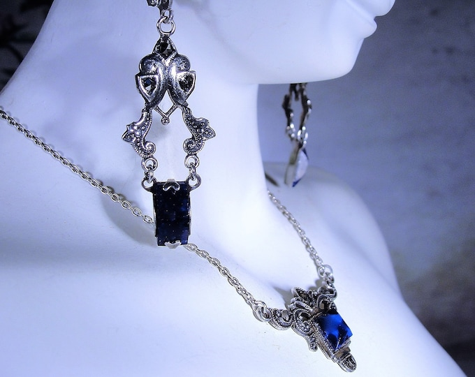 Jewelry Set, Vintage Blue Lapis and Marcasite Necklace and Earrings Jewelry Set, Circa 1930s Jewelry Set