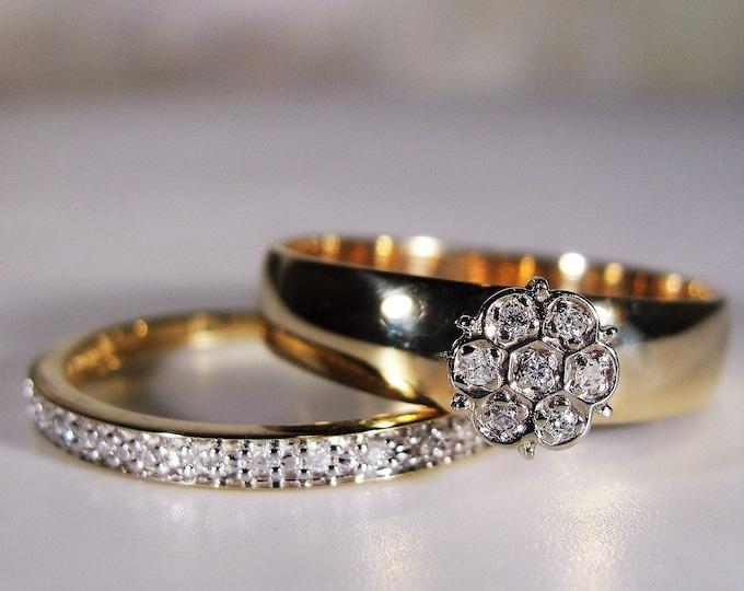 Bridal Ring Set, 10K Diamond Wedding Rings, Flower Cluster Engagement Ring, Diamond Wedding Band, Vintage Rings, Size 6.5, FREE SIZING!!