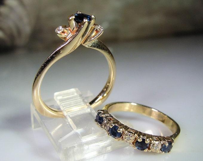 Bridal Ring Set, 14K Gold, Blue Sapphire Diamond Bridal Ring Set, Engagement Ring, Wedding Band, Wedding Rings, Vintage Bridal Rings, Sz 5.5