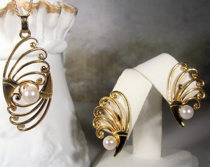 Necklace & Earrings Jewelry Set, Art Deco 12K Gold Filled Cultured Pearl Jewelry Set, Fan Motif, Pierced Earrings, Vintage Jewelry Set