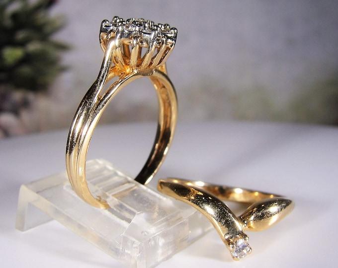 Bridal Ring Set, 14K Gold Diamond Cluster Bridal Ring Set, .60 CTW, Flower Engagement Ring, Diamond Chevron Band, Size 6.5, FREE SIZING!!