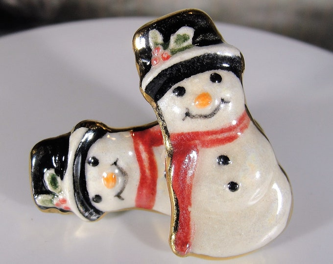 Snowman Earrings, Ceramic Snowman Earrings with High Gloss Hand Painted Design Work and 22K Gold Trim, Holiday Gift, Vintage Earrings