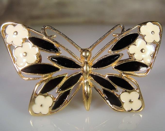 Fine Jewelry Brooch, 14K Yellow Gold Black and White Enamel Butterfly Brooch, Vintage Brooch