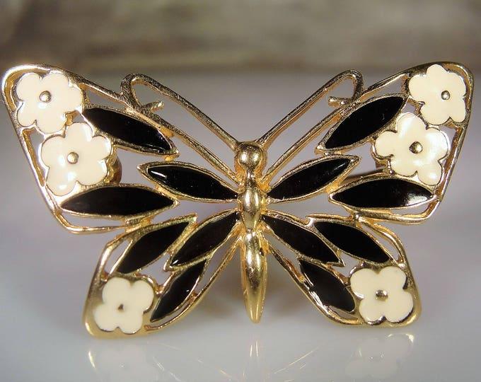 Fine Jewelry Brooch, 14K Yellow Gold Black and White Enamel Butterfly Brooch