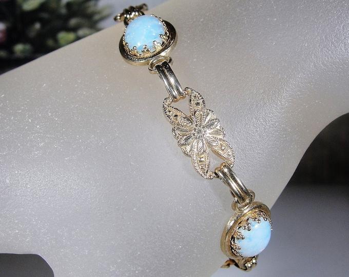 Opal Bracelet, Vintage Mid-Century Crown Mounted Faux Opal Link Bracelet, Vintage Bracelet