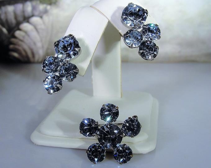 Capri Blue Rhinestone Flower Design Brooch with Matching Screw-Back Earrings in a Silver Tone Metal, Vintage Brooch and Earrings Set