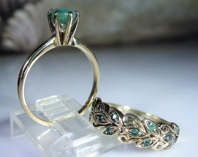 10K Emerald Bridal Ring Set, Green Emerald Engagement Ring, Antiqued Emerald Wedding Band, Wedding Rings, Bridal Rings, Vintage Rings, Sz 7