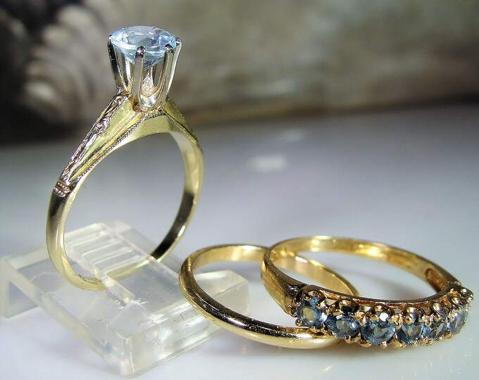 Victorian 14K Bridal Ring Set, Blue Aquamarine & Topaz Bridal Rings, Blue Topaz Engagement Ring, Wedding Band, Anniversary Band, Free Sizing