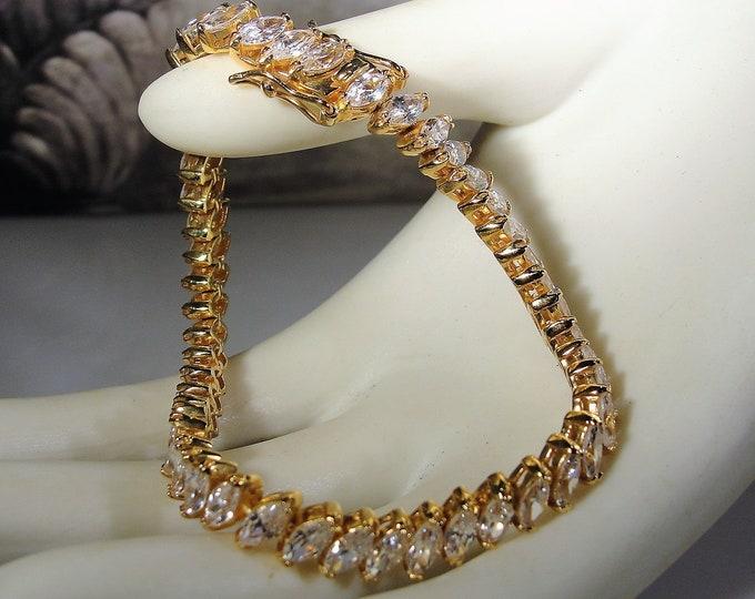 Tennis Bracelet, Vintage Gold Vermeil Cubic Zirconia Marquise Tennis Bracelet