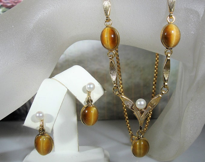 Necklace and Earrings Jewelry Set, 12K Gold Filled Tiger's Eye and Pearl Jewelry Set, Lariat Necklace, Pierced Earrings, Vintage Jewelry Set