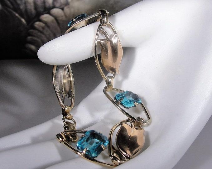 Link Bracelet, Vintage 1940's 12K Gold Filled Swiss Blue Glass Bracelet