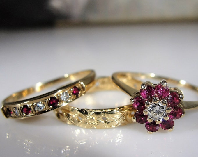 Bridal Ring Set, 14K Ruby and Diamond 3 Ring Set, Engagement Ring, Wedding Band, Anniversary Band, Vintage Rings, Size 9, FREE SIZING!!