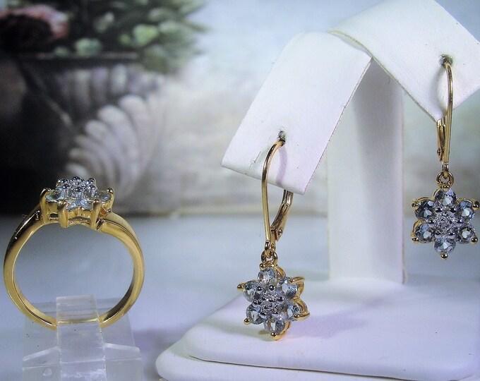 Blue Topaz Ring and Earrings Set, Blue Topaz Flower Set, Blue Topaz Earrings, Blue Topaz Ring, Pale Blue Ring & Earrings, Vintage Set, Sz 7