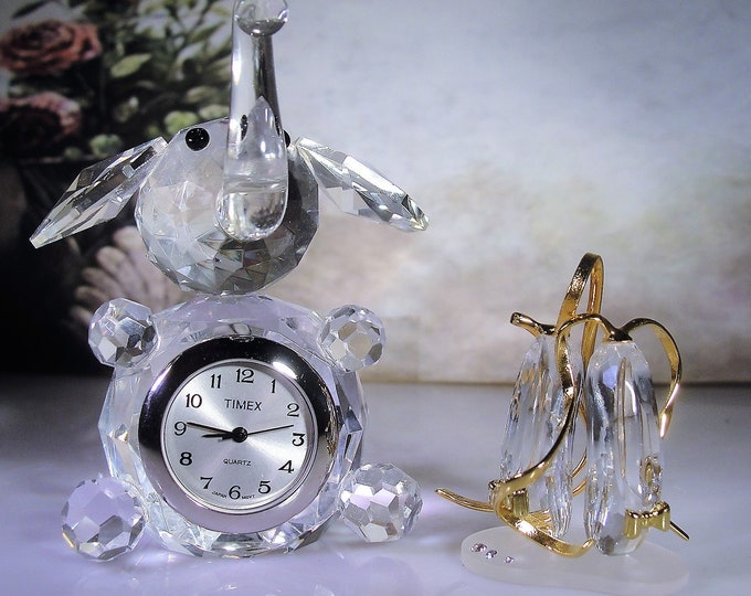 TIMEX Crystal Elephant Clock and Ballerina Slippers Menagerie Pieces