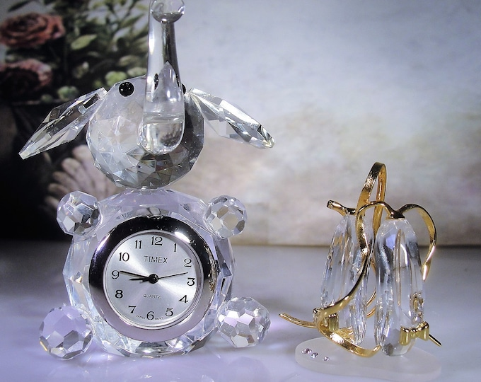 TIMEX Crystal Elephant Clock and Ballerina Slippers, Crystal Menagerie Pieces, Curio Cabinet Trinkets, Elephant Clock, Ballerina Slippers
