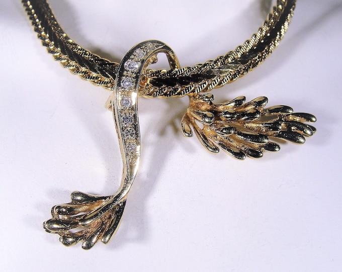 Diamond Pendant, 14K Yellow Gold Free Form Diamond Slider Pendant, Avant Garde Design, Genuine Natural Diamonds, Vintage Pendant