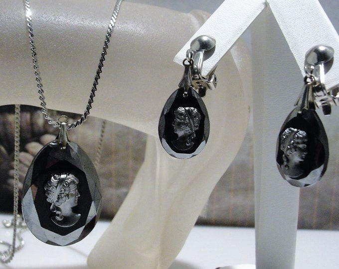 Cameo Jewelry Set, Black Carved Glass Pendant and Earrings with Pewter Relief Cameos, Silver Chain and Clip On Earrings, Vintage Jewelry Set
