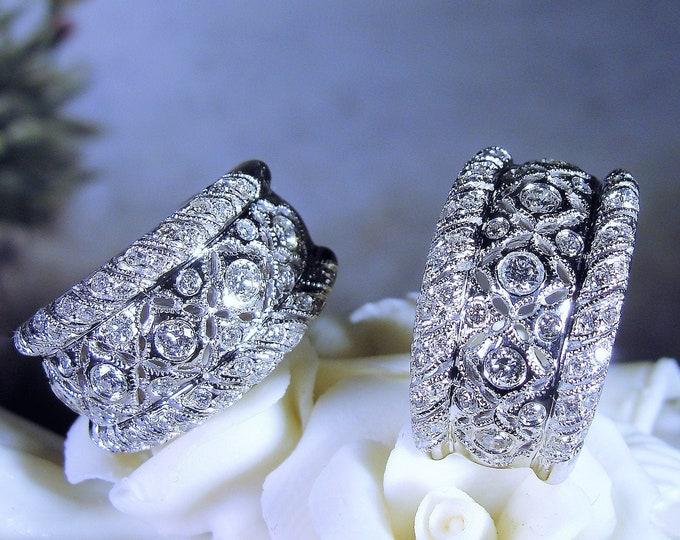 14K White Gold Diamond Earrings, Art Deco Style Earrings, Huggie Style Earrings, Wide Half Hoop Earrings, Estate Earrings, Vintage Earrings