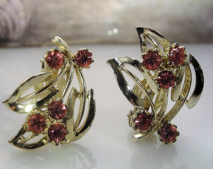 Clip On Earrings, Pink Rhinestone Gold Washed Earrings, Midcentury Vintage Earrings