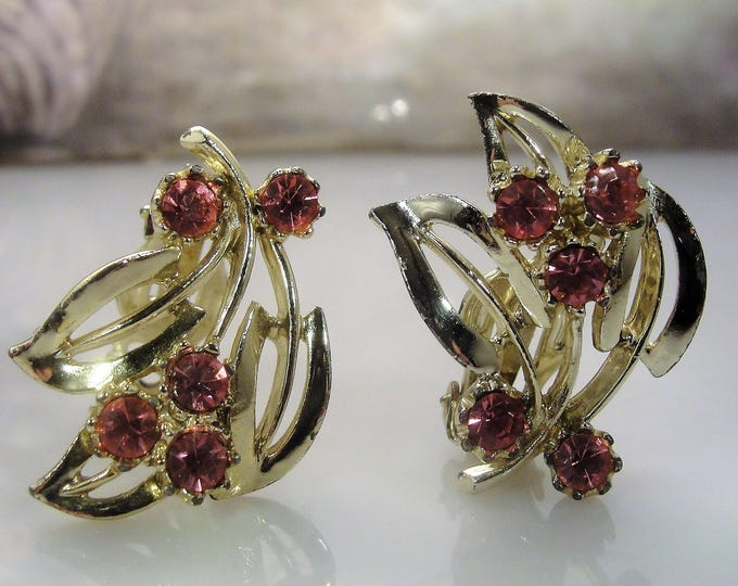 Clip On Earrings, Pink Rhinestone Gold Washed Earrings, Midcentury Vintage Earrings
