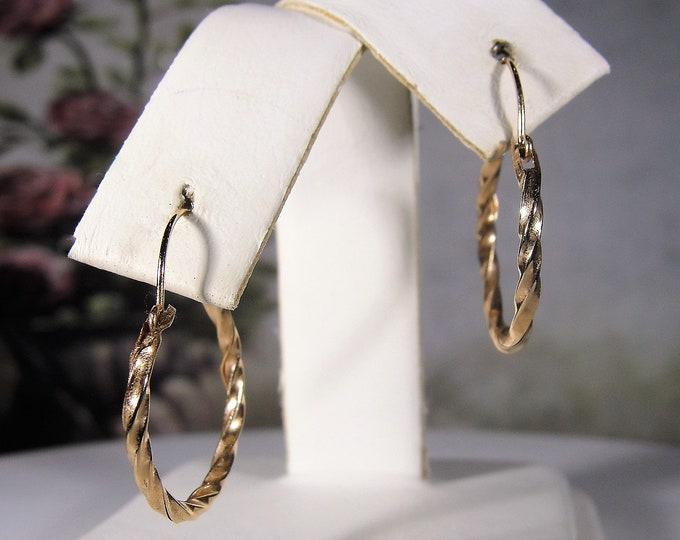 Pierced Earrings, Vintage 14K Yellow Gold Twisted Hoop Earrings, 17.2mm Diameter Hoops