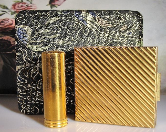 Wristlet Dance Purse, ZELL Brocade Dance Purse with Gold Mesh Wristlet Strap and Powder Compact & Lipstick Holder