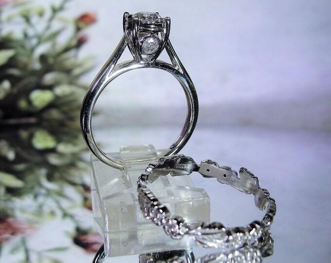 10K White Gold Diamond Bridal Ring Set, White Gold, .548 CTW, Engagement Ring, Wedding Band, Wedding Rings, Vintage Rings, Size 7