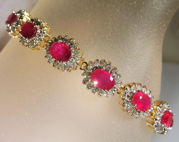 14K Gold Ruby Diamond Bracelet, Ruby and Diamond Bracelet, Ruby Bracelet, Ruby Red Bracelet, 15 Station Bracelet, Vintage Ruby Bracelet
