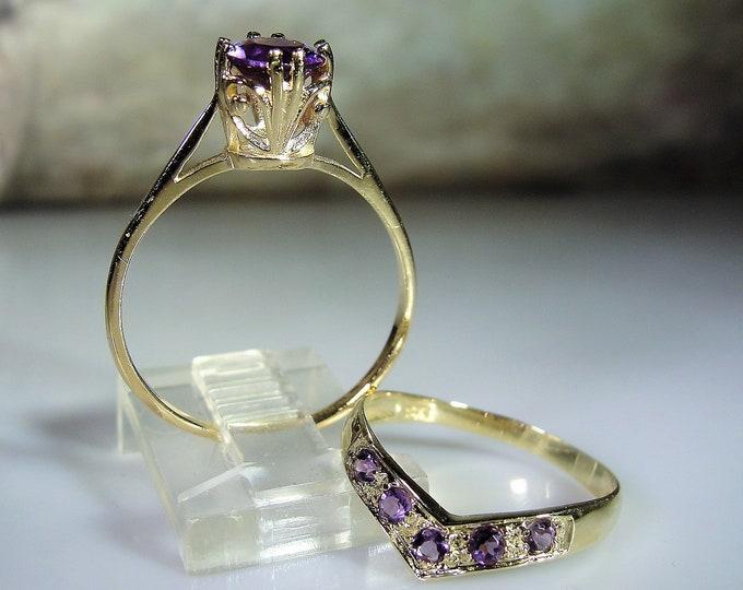 10K Bridal Ring Set, Purple Amethyst Alternative Bridal Rings, Amethyst Engagement Ring, Amethyst Chevron Wedding Band, Vintage Wedding Ring