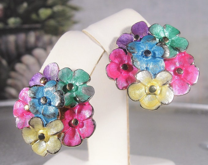 Vintage Enamel Floral Clip On Earrings, Flower Earrings, Mid-Century Earrings, Enamel Flower Bouquet, Vintage Earrings, Clip On Earrings