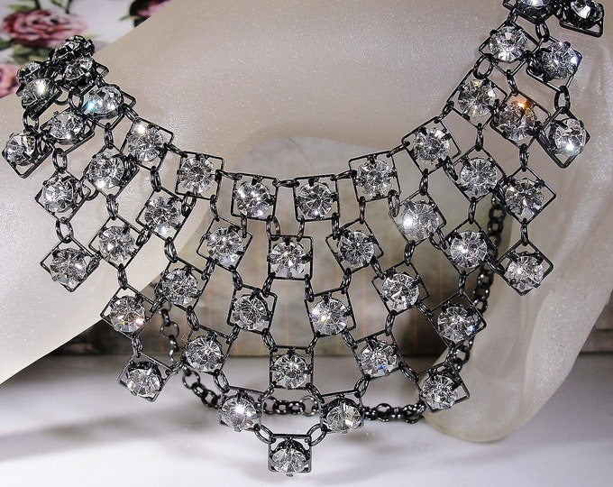 Rhinestone Bib Necklace, Gun Metal Black Bib Necklace with Clear Rhinestones, Prom Necklace, Vintage Necklace, 18 Inches