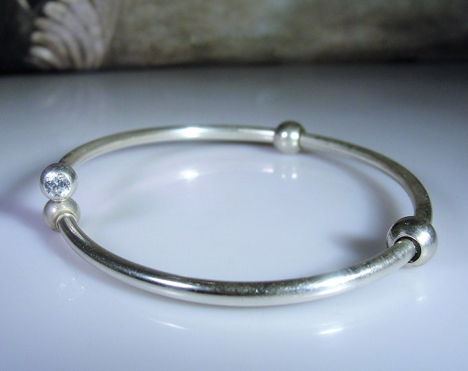 PANDORA Sterling Silver Charm Bracelet, Charm Bangle, Swarovski Twist Off Ends, Sterling Silver Round Ball Stoppers, Vintage Bangle