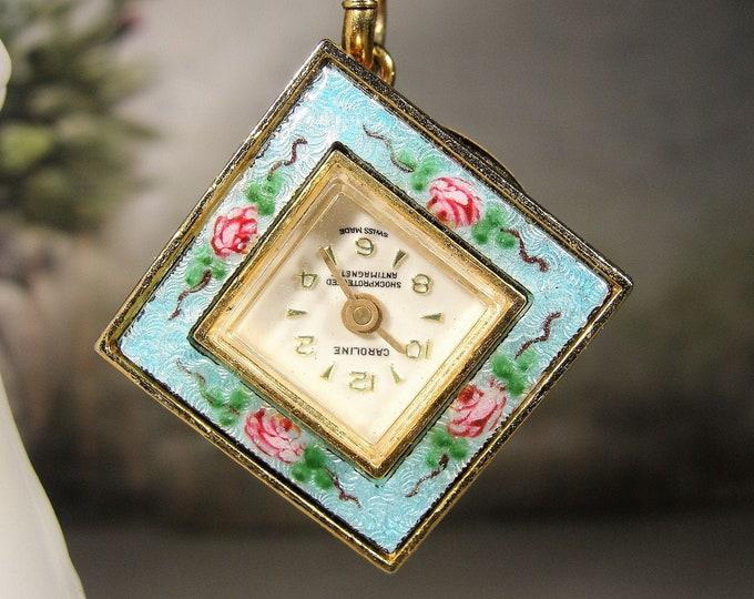 CAROLINE Watch Pendant, Tea Rose Light Blue Guilloche Pendant Watch, Pendant Watch, 24 Inch Gold Tone Chain, Mechanical Watch, Vintage Watch