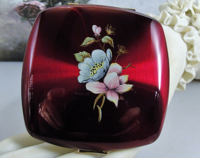 MELISSA of London Powder and Mirror Compact, Made in England, Claret Lucite Compact, 1950s Compact, Unused Condition, Vintage Compact