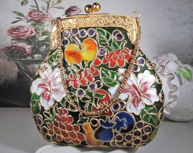 Cloisonné Purse Ornament, Christmas Ornament, Embellished Enamel Purse Ornament with Gold Gilt Throughout, Vintage Home Décor Item