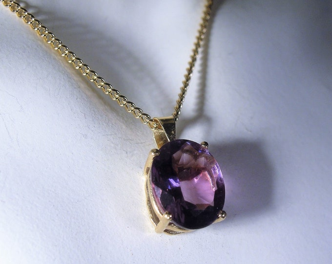 14K Amethyst Pendant, 3 Carat Amethyst Pendant, Purple Pendant, 20 Inch 18K Gold Filled Chain, February Purple Amethyst, Vintage Necklace