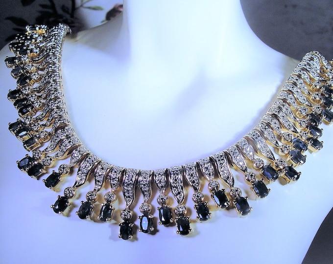 Cleopatra Sapphire and Diamond Necklace, Gold Vermeil, Genuine Diamonds, Genuine Sapphires, Vintage Necklace, Vintage Choker, 17 Inches
