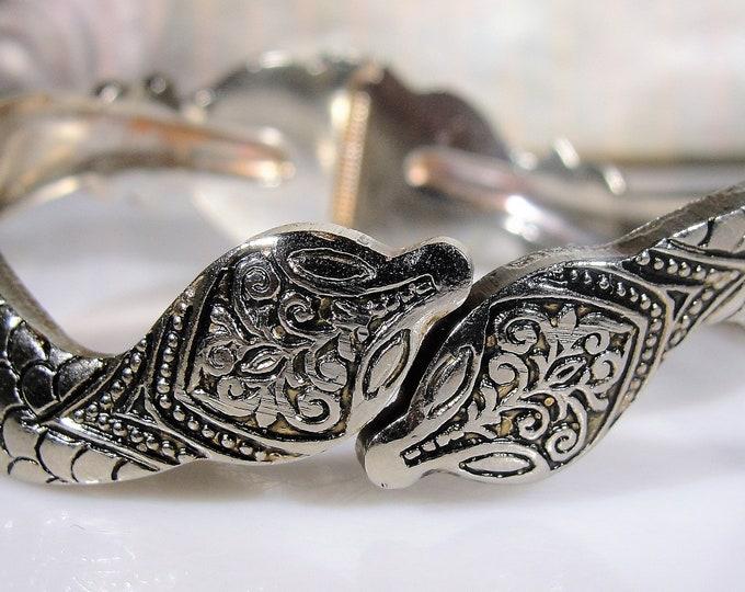 Vintage Egyptian Revival Chrome Engraved Dual Snake Hinged Bangle Bracelet