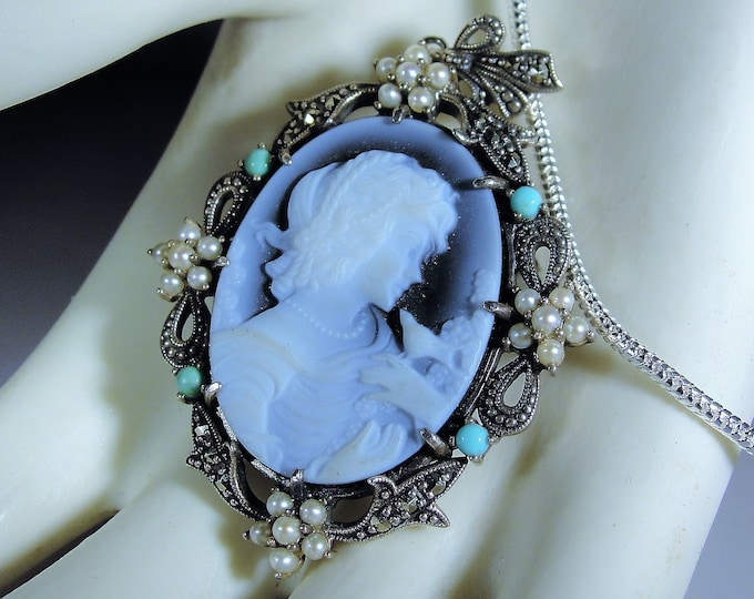Victorian Cameo Necklace, Sterling Silver Blue Agate Brooch, Convertible Necklace / Brooch, Cameo Necklace, Cameo Brooch, Vintage Brooch
