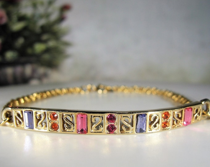 Gold Vermeil Bracelet, Sterling Silver Gold Vermeil Simulated Multi-Colored Gems Bar Bracelet, Art Deco Style Bar & Chain Vintage Bracelet