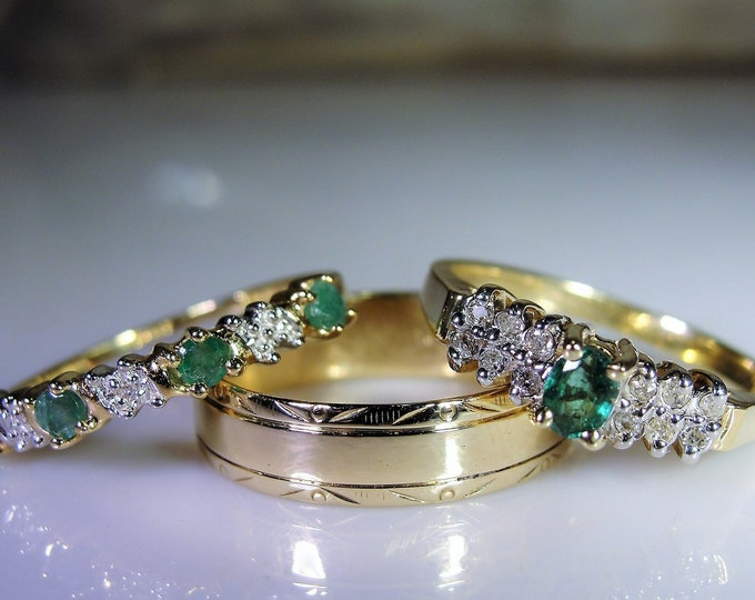 Bridal Ring Set, 10K Green Emerald & Diamond Rings, Engagement Ring, Wedding Band, Anniversary Band,Vintage Rings, Size 7, FREE SIZING!!