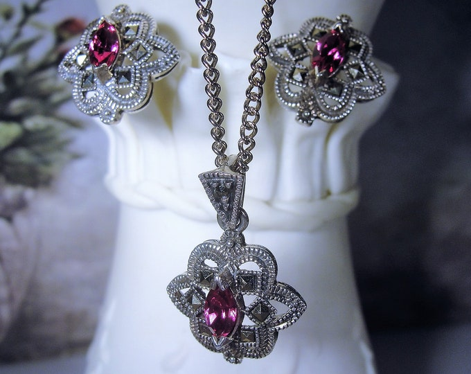 Jewelry Set, Marcasite Pink Glass Sterling Silver Jewelry Set, Necklace Earrings, Vintage Jewelry Set