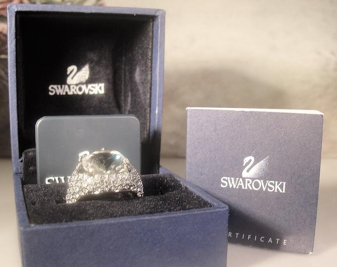 SWAROVSKI Crystal Ring, Certified Swarovski Ring, Pave Crystal Ring, Sterling Silver, Vintage Ring, Size 6, FREE SIZING!!