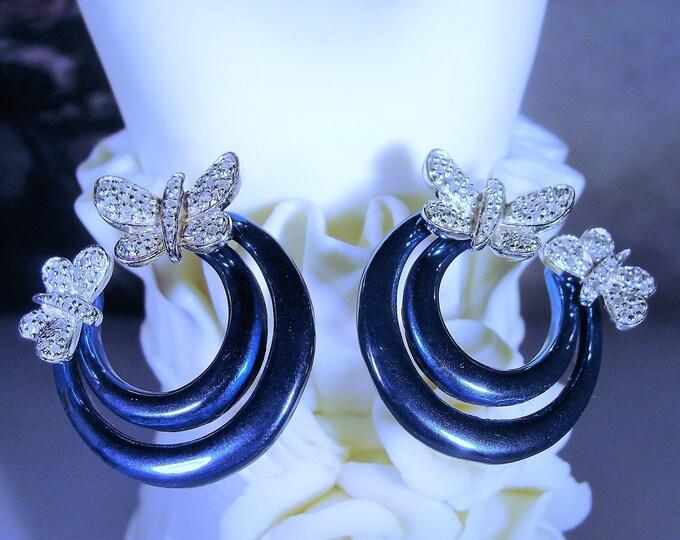 Sterling Silver Teal Blue Enamel Pave Diamond Butterfly Hoop Earrings, Pierced Earrings, Vintage Earrings