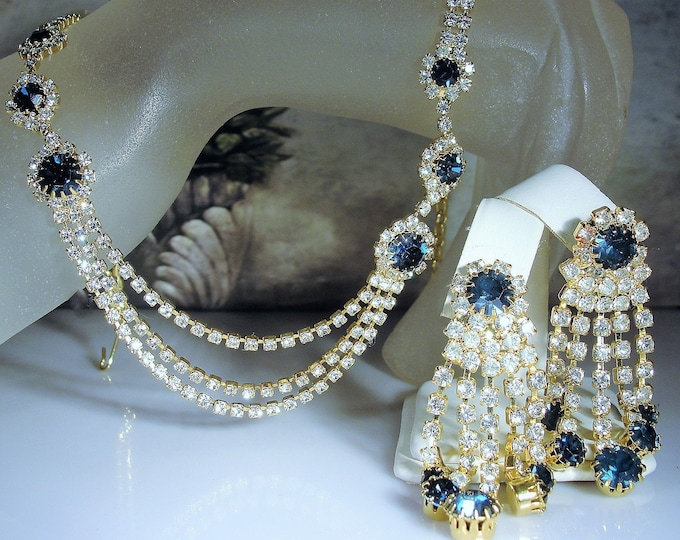 Blue Rhinestone Jewelry Set, Rhinestone Necklace, Rhinestone Chandelier Earrings, Prom Accessories, Flapper Style, Vintage Jewelry Set